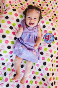 Kiersten on her minky baby quilt