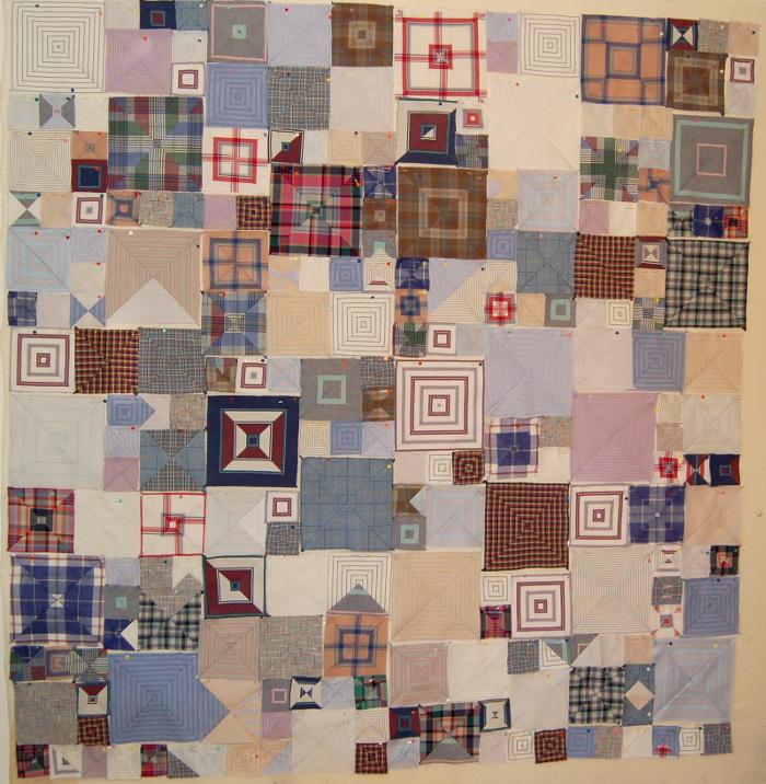 Patchwork of bereavement quilt using Kaffe Fassett's Shirt Stripe Boxes pattern