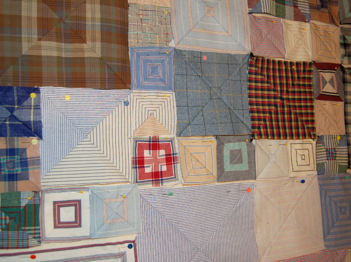 Closeup of boxes formed in initial patchwork of Box pattern