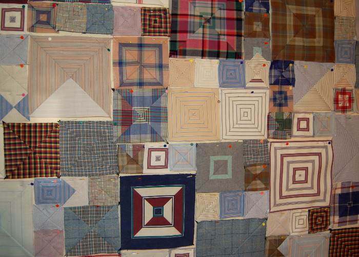 Closeup of boxes on design wall before sewn together to form a patchwork