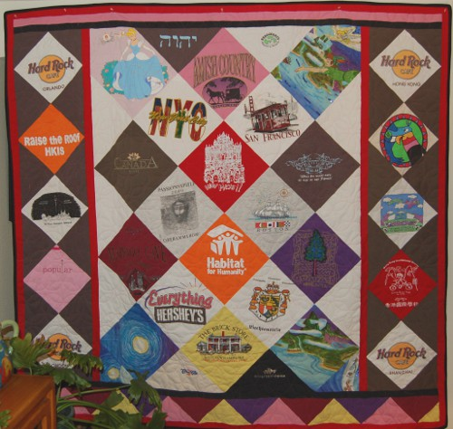 Memory t-shirt quilt made from shirts collected throughout the world