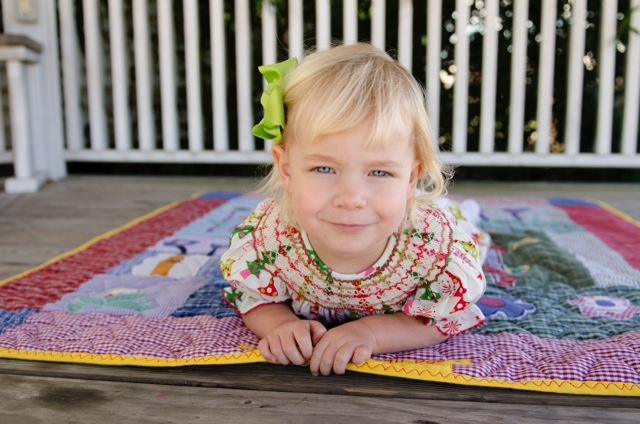 """Charlotte loves her """"beautiful yellow quilt"""""""
