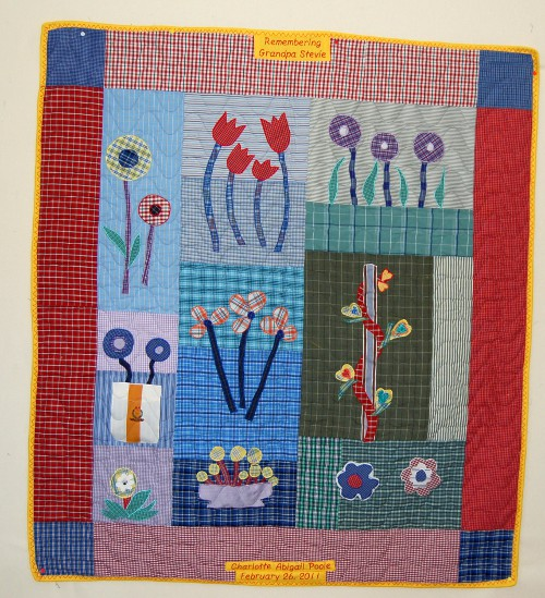 Child's bereavement quilt made from granddaddy's shirts
