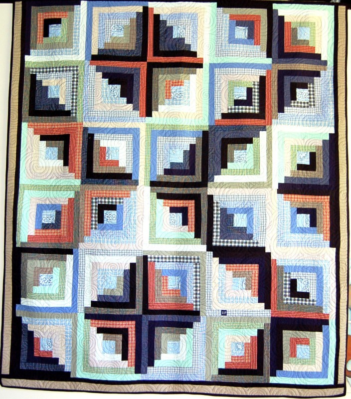Bereavement log cabin quilt made for Chloe out of her Dad's shirts