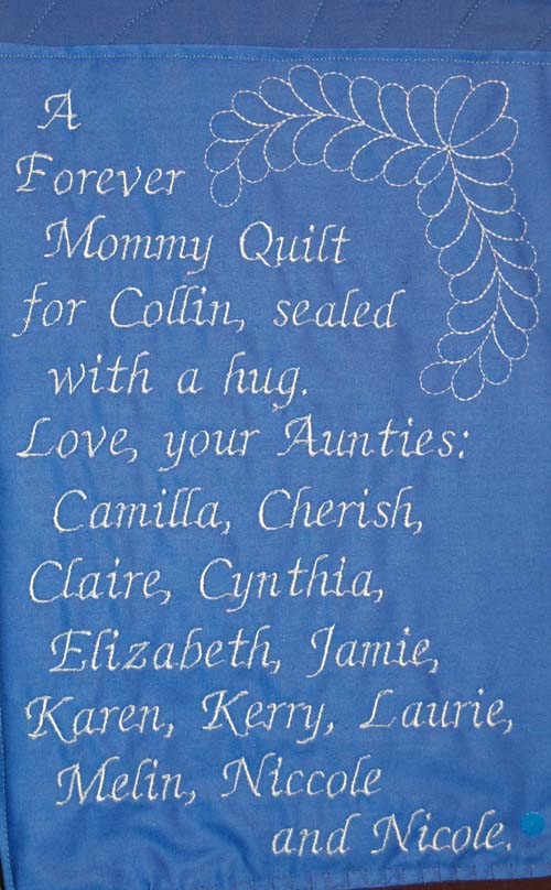 Label for bereavement quilt given by 12 friends to young boy