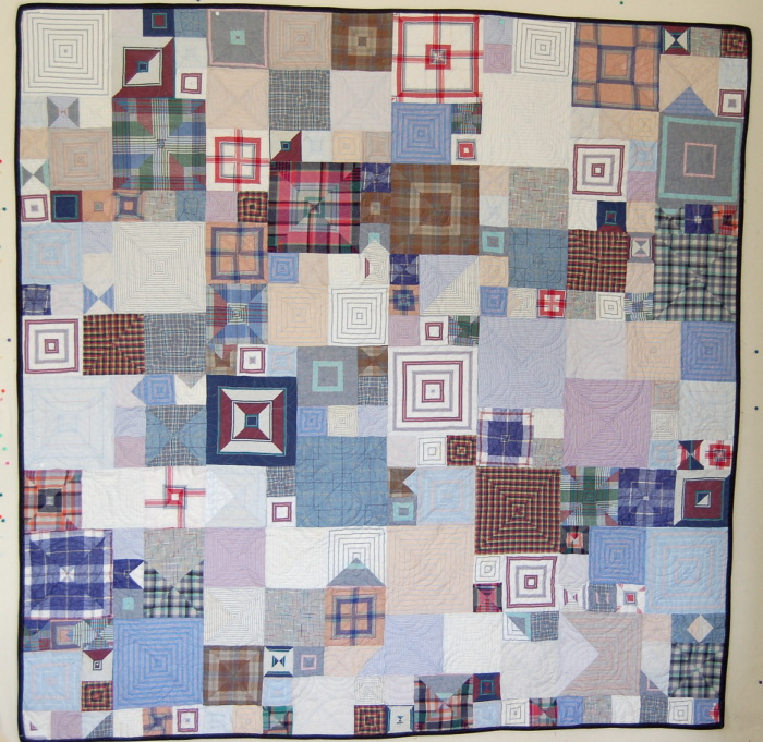Boxes Bereavement Quilt Made with Brother's Shirts