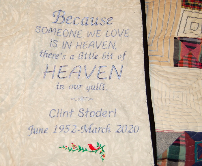 Label for Boxes Bereavement Quilt