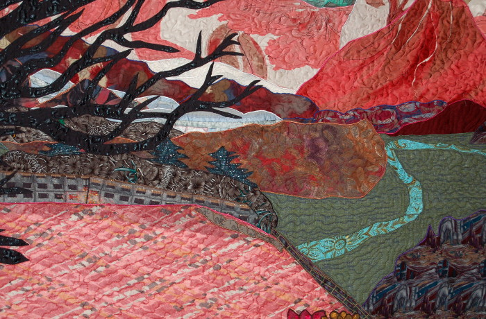Detail of bereavement wall hanging showing fences