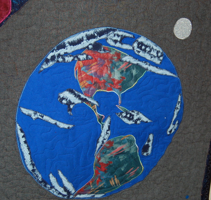 The earth as depicted on Eli's quasar quilt