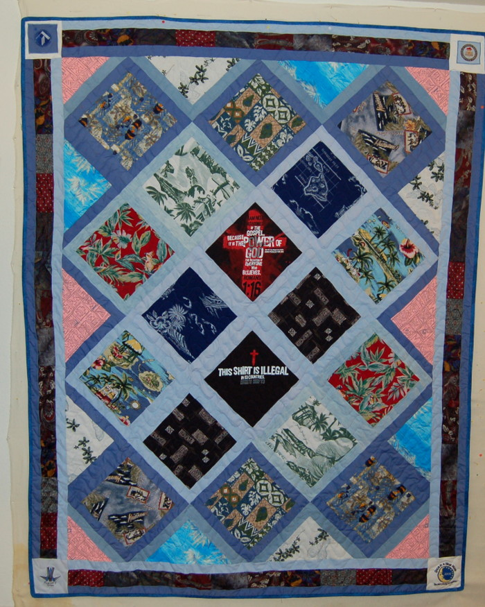 Bereavment quilt made with husband's Hawaiian shirts
