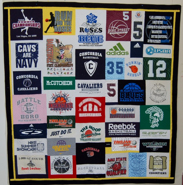 Caitlin's Memory Quilt - a Sports T-Shirt Quilt