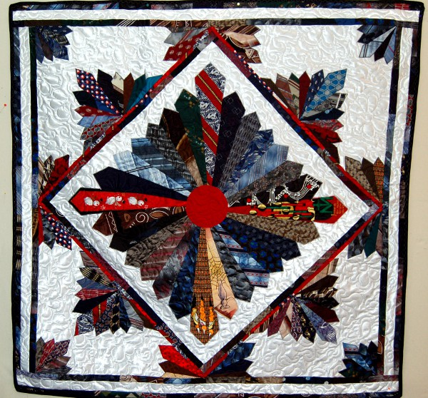Tie bereavement quilt made for Cindy Koebl's mother