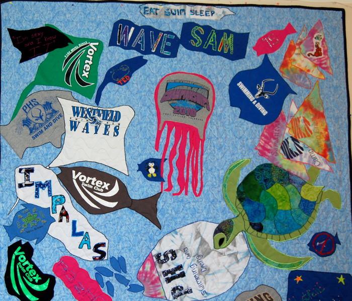 Detail of seascape t-shirt quilt