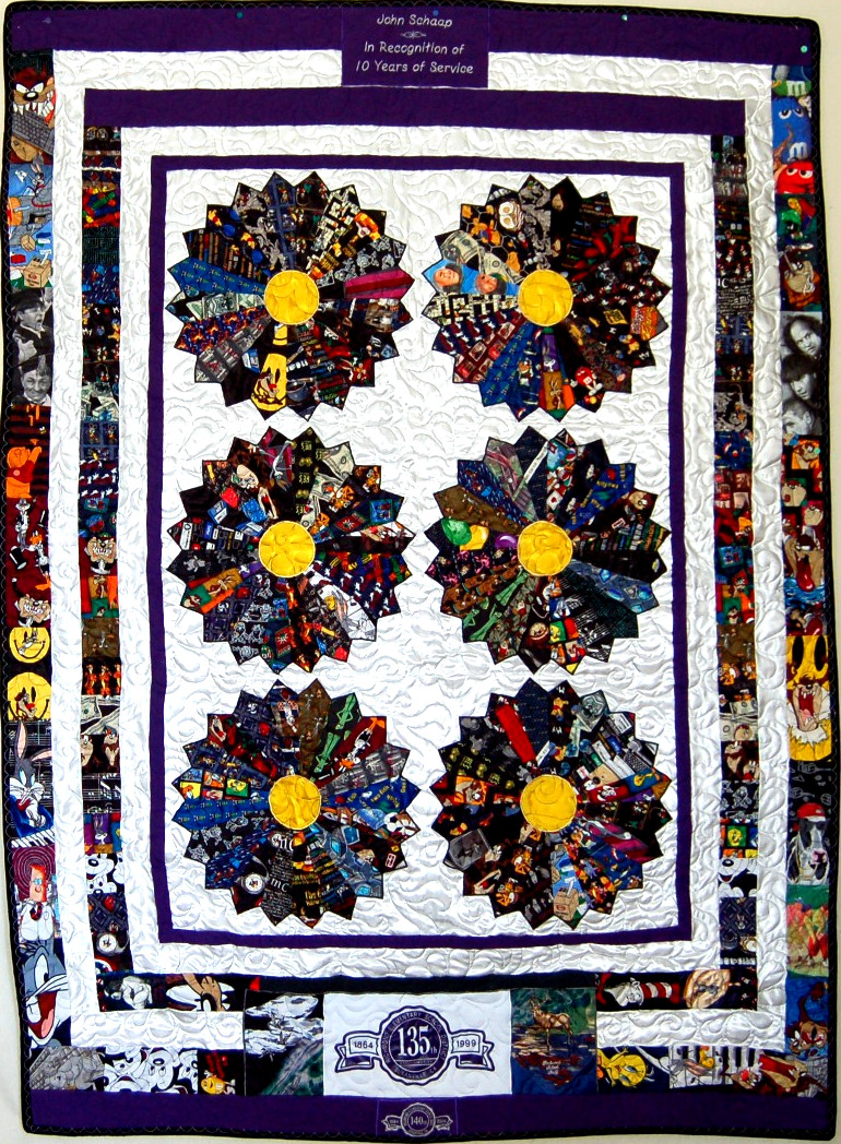 Tie Quilt featuring retired computer teacher's ties