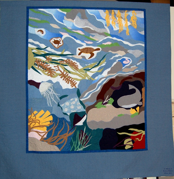 Seascape - A bereavement quilt honoring mother - king-sized bed quilt