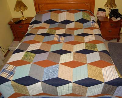 Baby Block Quilt made from men's shirts