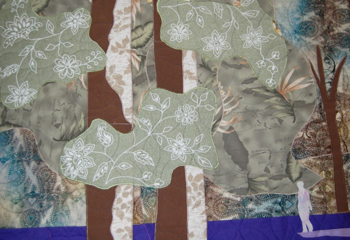 Leafy detail on Bluebell bereavement quilt