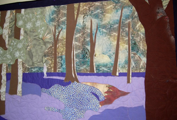 Closeup of Bluebell Woods bereavement quilt