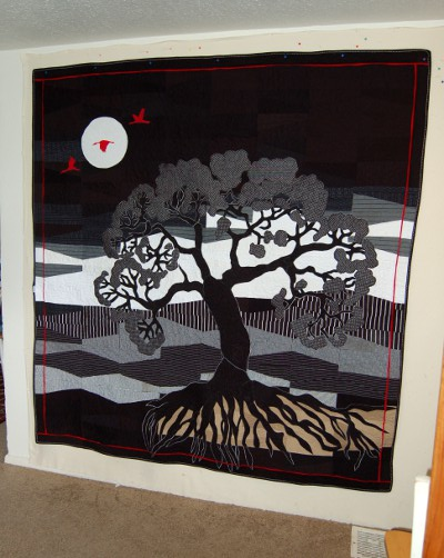 Tree of Life Bereavement Quilt made from Chef Outfits