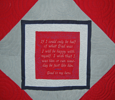 Label for Dad's quilt