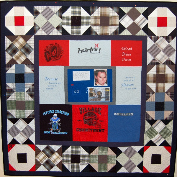 One of six bereavement quilts made for one family honoring brother Micah