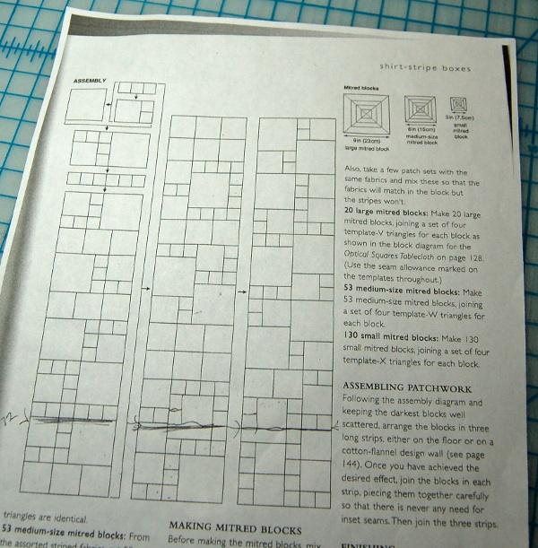 Kaffe Fassett cheatsheet for patchwork of Boxes pattern