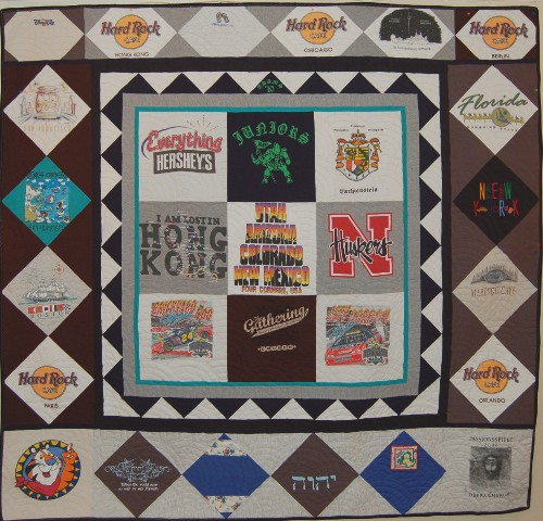 Memory T-shirt quilt with international t-shirts