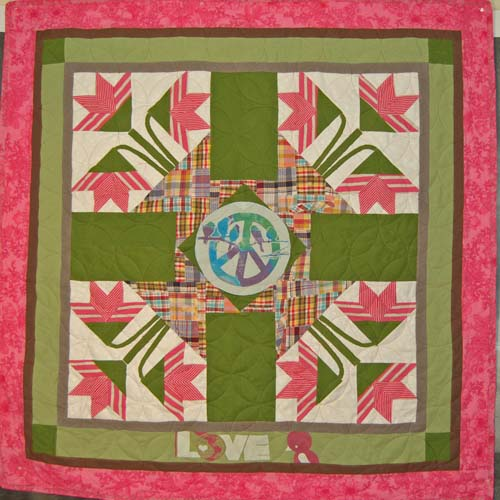 Bereavement quilt for young girl, commissioned by 12 friends of her mom