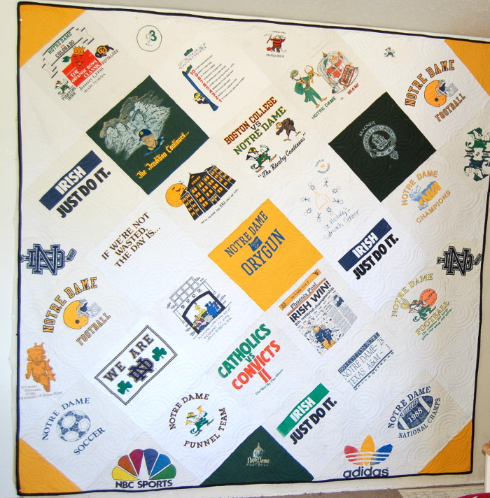 T-Shirt Quilt displaying College T-Shirts belonging to Mason and his Wife