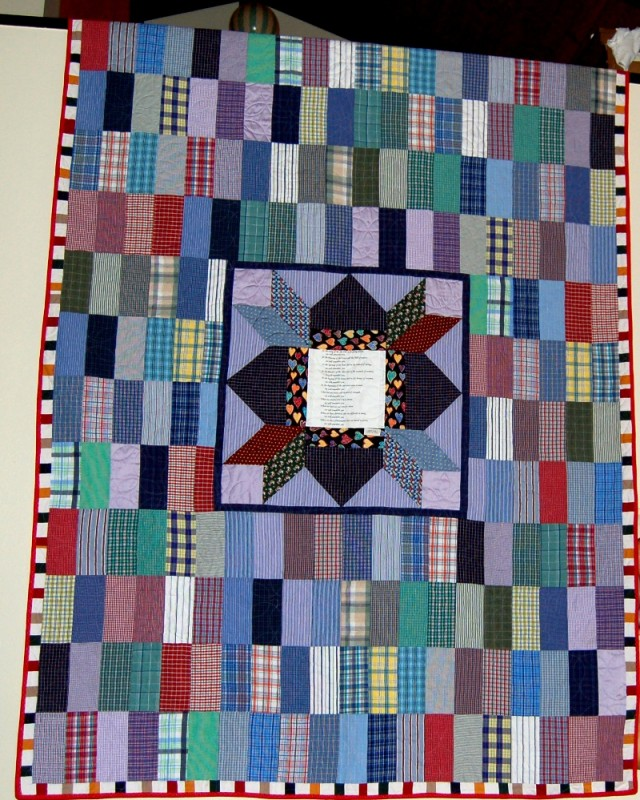 Bereavement quilt made for wife out of 54 of her husband's shirts