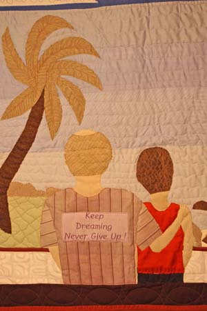 Bereavement Quilt Detail - Honeymooners in Bora Bora
