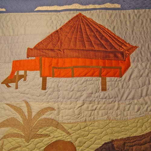 Bereavement Quilt Detail - hut made from wedding tie and handkerchief