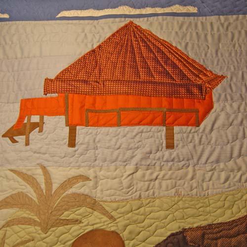 Bereavement Quilt Detail - hut made from wedding tie and handkerchief