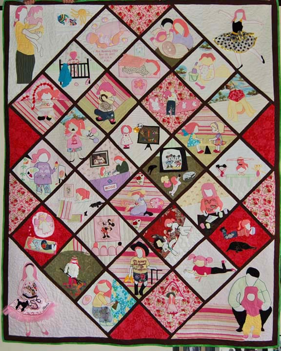 Quilt made for 7-year old girl from her baby clothes