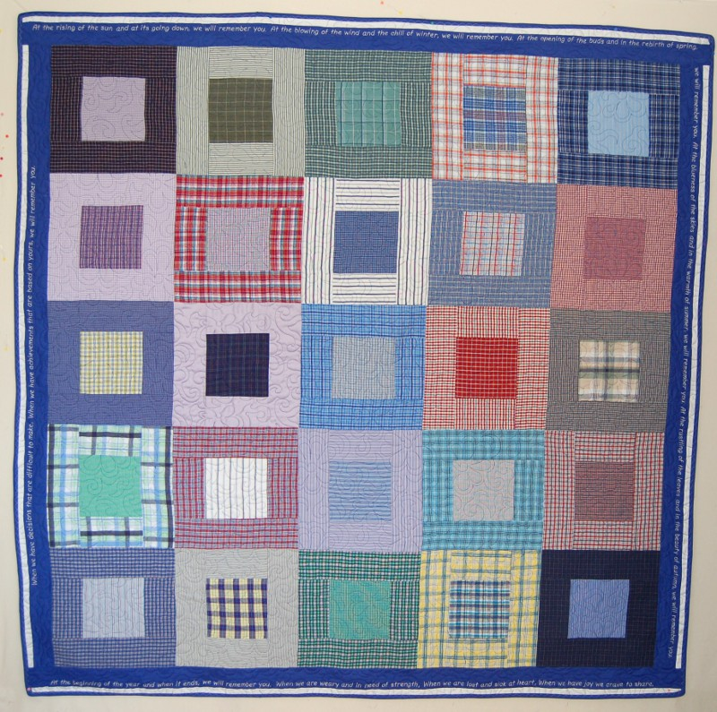 Bereavement quilt for daughter made from father's shirts
