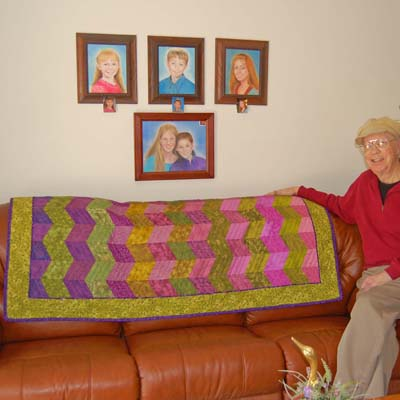 Quilted Throw on Sofa with Howard