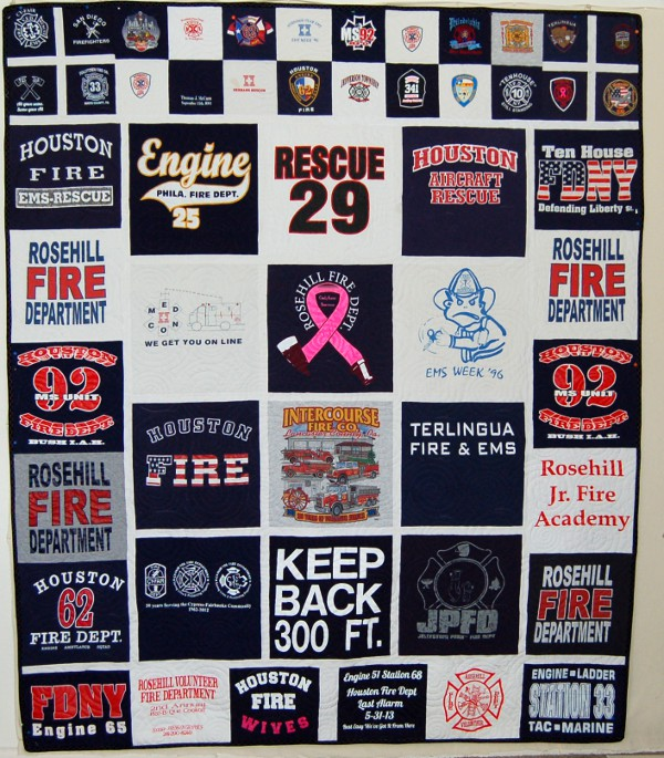 Tommy's Memory Quilt - T-shirts from Firefighting Days